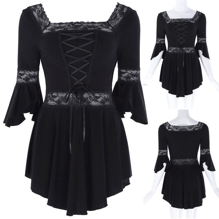Women Lace-Up Gothic Corset Sexy Womens Top Steampunk Victorian Black Shirt New #BellePoque #Blouse