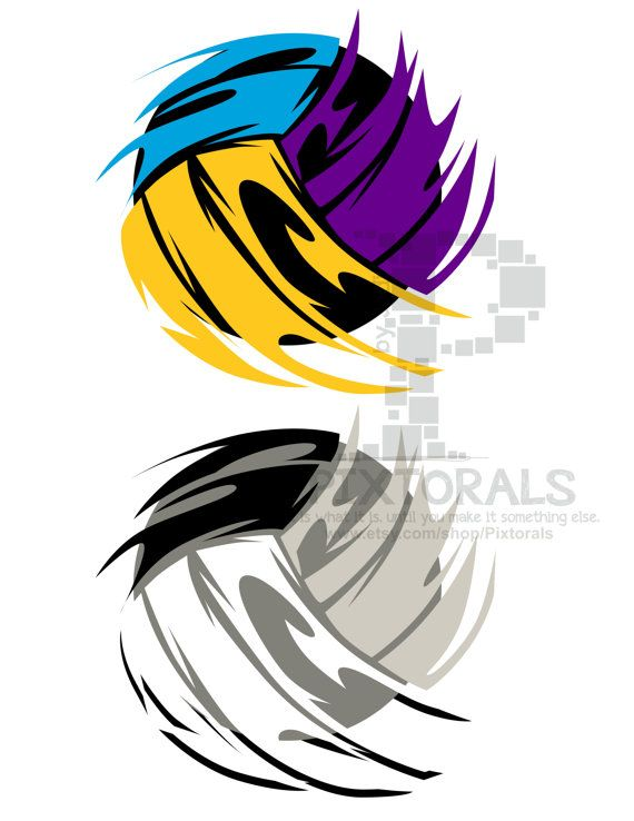 Volleyball  EPS file Vector and jpeg png sketchy by Pixtorals