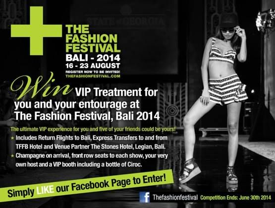 The Fashion Festival Bali 2014, 16-23 August, at The Stones Hotel, Jalan Raya Pantai Kuta, Bali, Indonesia. Designers from Bali, Jakarta, Singapore, Malaysia and Australia will show their collections on some of the region's top models.
