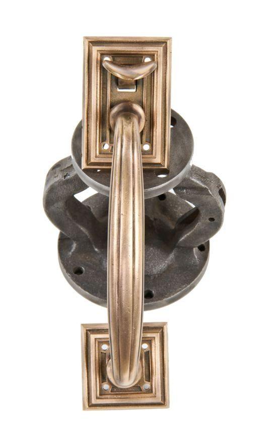 comlete c. 1910 chicago commercial bank building exterior ornamental cast bronze thumblatch entrance door handle with original and intact lever - Vintage Builders' Hardware - Doors