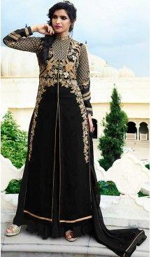 Black Color Georgette Achkan Style Party Salwar Kameez   FH508177409 #heenastyle , #boutique , #pakistani, #salwar , #kameez , #suit , #dresses , #styles , #fashion , #clothing , #henna , #designs , #mehndi , #more , @heenastyle , #party , #online , #abaya