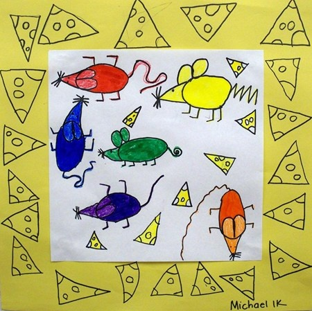 Michael5861's art on Artsonia. I think I'd order it in rainbow order somehow...color wheel, walking in order, red+yellow=orange, something so they learn and remember the order. Love the cheesey border!
