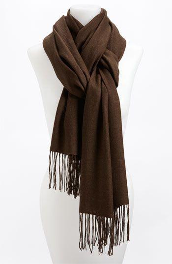 Nordstrom Tissue Weight Wool & Cashmere Wrap   Nordstrom - Heather Brown