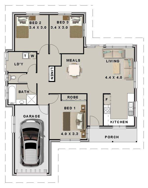 3 Bedroom House Plans Modern style