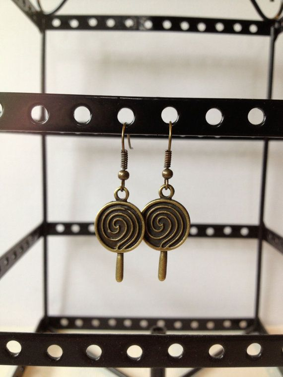Brass Lollipop Dangle Earrings