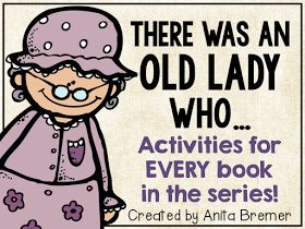There Was an Old Lady Who Swallowed sequencing pictures, anchor chart, and book companions for EVERY book in the series!