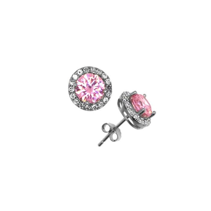 Örhänge 7 mm Rhodinerat 925 Sterling Silver Rosa/Vita stenar
