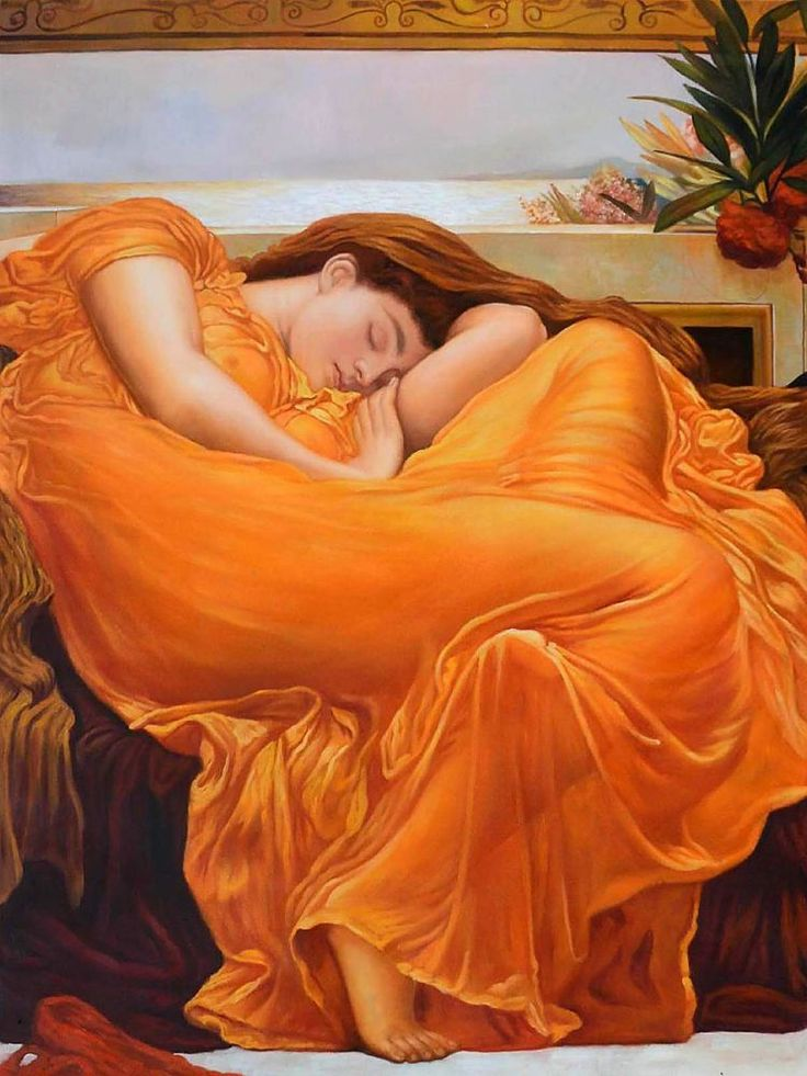 Lord Frederic Leighton, Flaming June, placed 7th on overstockArt's 2015 Top 10 Art List. Hand painted reproductions are available in a variety of sizes at overstockArt.com. #oilpainting