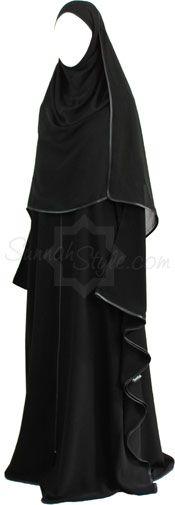 Satin Trimmed Full Zip Butterfly Abaya (Black)