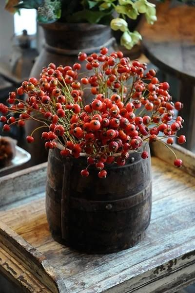 love the table, love the barrel full of berries!