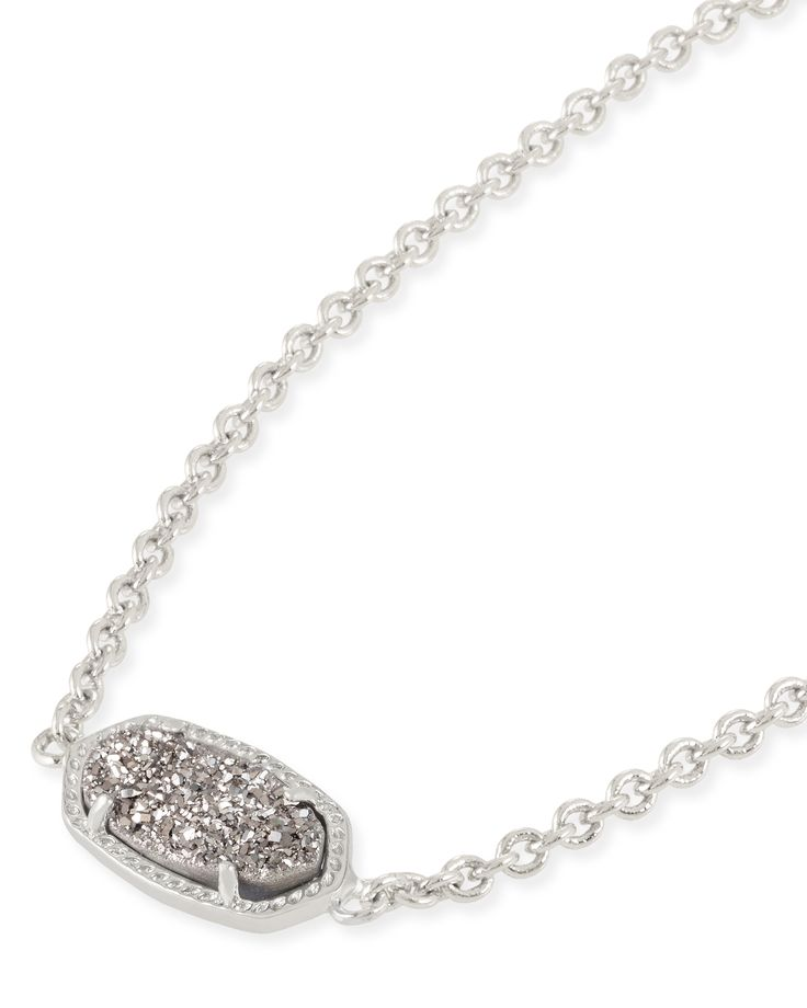 Kendra Scott Elaina Platinum Drusy Silver Adjustable Bolo Bracelet