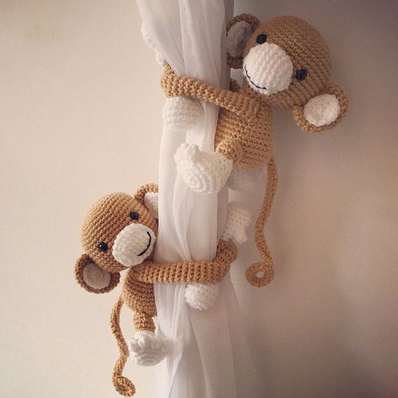 Brown monkey curtain tie backs, a pair, nursery, crochet, handmade