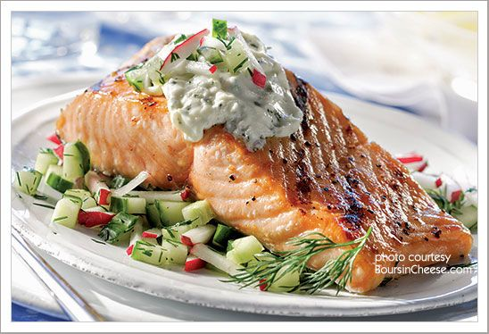 Grilled Salmon and Cucumber Radish Relish from MyGourmetConnection