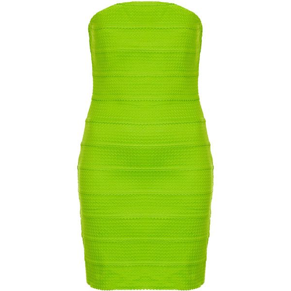 **Lime Strapless Bandage Dress by Rare ($27) ❤ liked on Polyvore featuring dresses, green, vestidos, lime, body con dresses, green dress, lime green bodycon dress, lime dress and strapless cocktail dresses