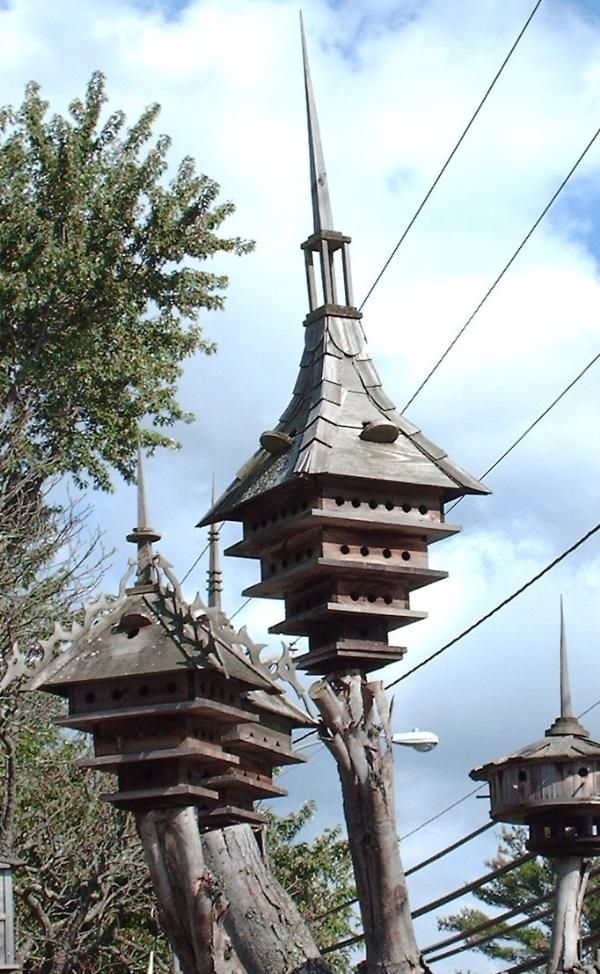 By Joe Danella Birdhouses. Very cool idea for a dead tree that has been trimmed back