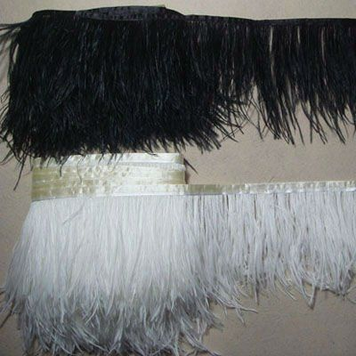 WHITE AND BLACK OSTRICH FEATHER TRIM FOR FEATHER SKIRT