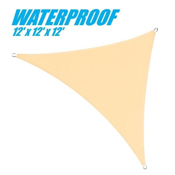 100% BLOCKAGE Waterproof 12' x 12' x 12' Sun Shade Sail Canopy Triangle Beige