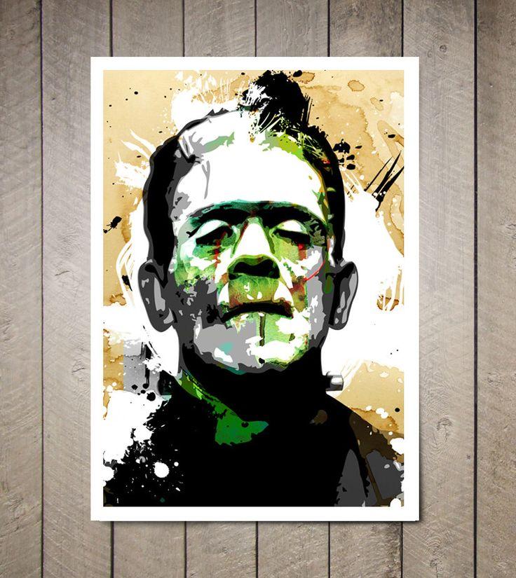 Frankenstein, Fan Art Print, Gothic, Movie, Monster, Gothic Art, Frankenstein Decor, Movie Poster, Monster Art, Gothic Decor, Gift Idea by MediaGraffitiStudio on Etsy https://www.etsy.com/listing/54056738/frankenstein-fan-art-print-gothic-movie
