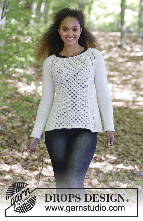 Winter  Grace - Jumper with cables, lace pattern and raglan, knitted top down. Size: S - XXXL Piece is knitted in DROPS Puna. Free knitted pattern DROPS 183-9