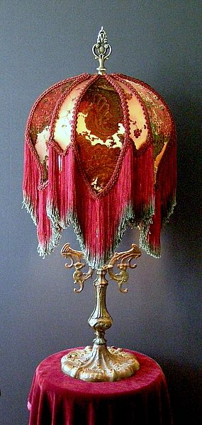 """~ Solid Brass """"Victorian"""" Table Lamp With Silk & Velvet Shade Laden With Ribbonwork ~"""