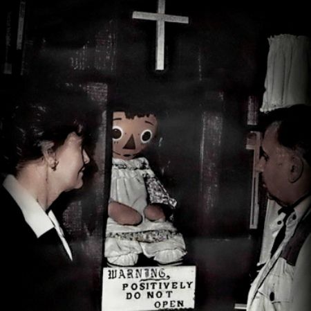 Annabelle. The doll possessed by a lying demon. The doll now resides in a locked glass cabinet in the Occult Museum of renowned paranormal investigators, Ed and Lorraine Warren.