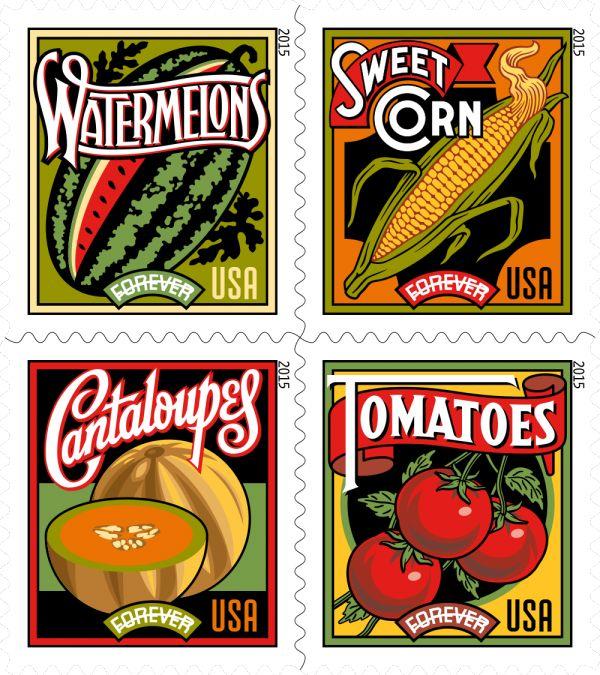 Vintage produce advertising, Summer Harvest 2015 Forever Stamp Preview | USPS Stamps