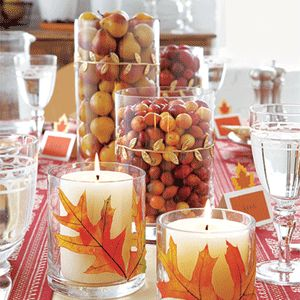 Fall Inspiration Centerpiece: Here is an idea for decorating that will carry you through the Fall holidays and seasons. I think placing a cluster of these throughout the house would really bring a nice Fall touch to the home.: