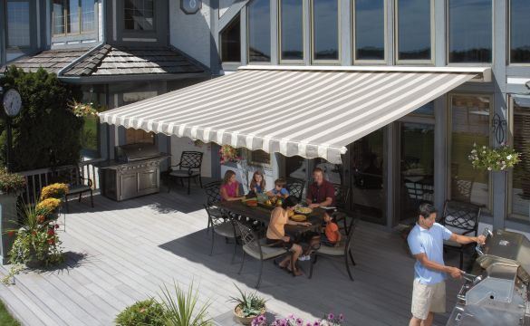 Motorized Awnings Sunsetter Retractable Awnings Outdoor Remodel Outdoor Awnings Patio Awning