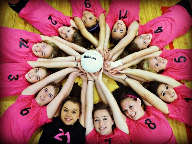 Volleyball team photo idea! Love this alot.  Also would be cute with a softball or a soccer ball