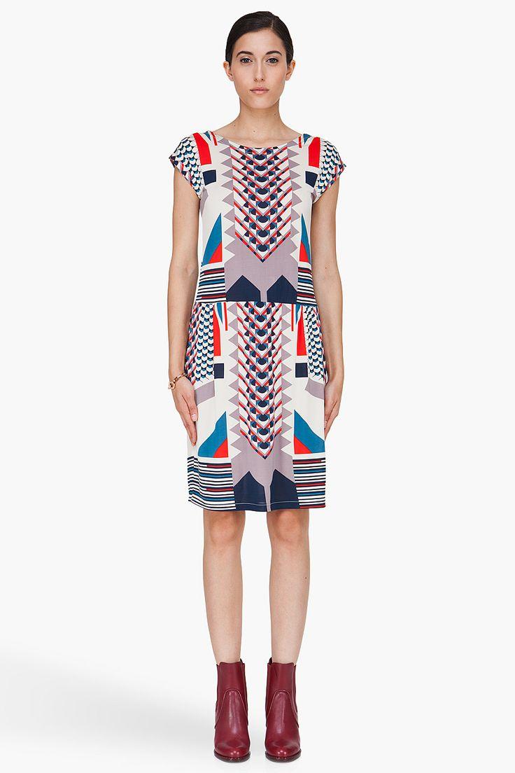Marc By Marc Jacobs Cream Tinka Print Dress for Women | SSENSE