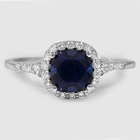 Platinum Harmony Diamond Ring Set with 6.5X6.5mm Cushion Blue Sapphire  PRICE: $4,250
