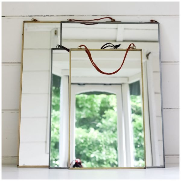 Nkuku Small Zinc Mirror: Fabulous mirrors in a range of sizes, which function aspractical decorations for any room. The antique zinc frameshang from strings made from sari silk, making each one special and unique.