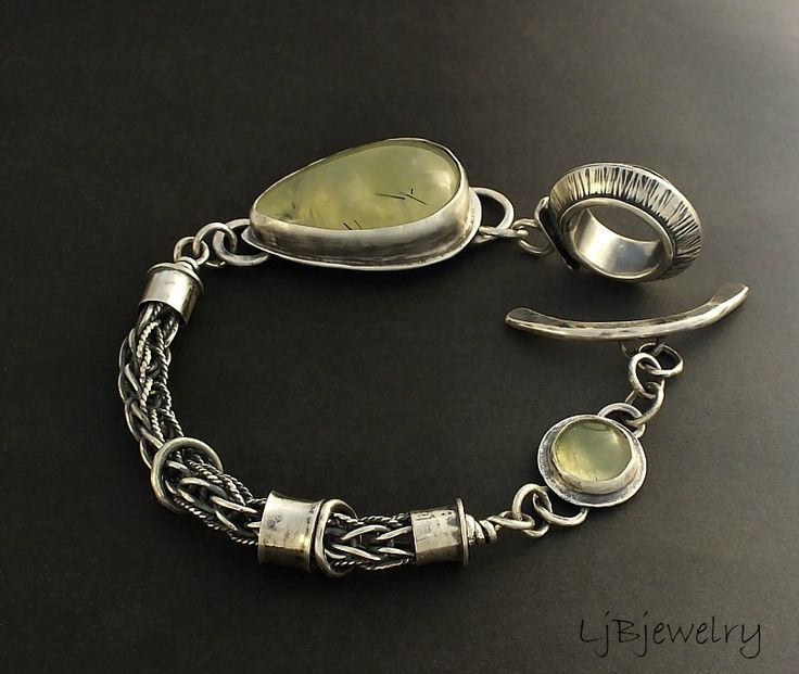 Sterling Silver Bracelet with Prehnite cabochons by LBjewelry. Via laurajanebouton.tumblr