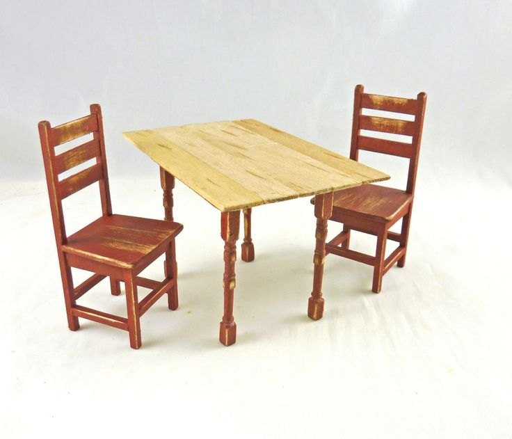 Primitive Kitchen Table And Chairs: Dollhouse Miniature Artisan Rustic Red Kitchen Table