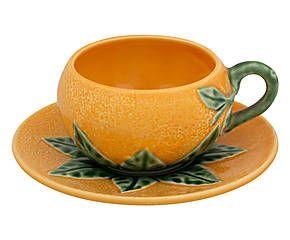 Tasse et sous-tasses à café faïence portugaise, orange et vert - Ø10