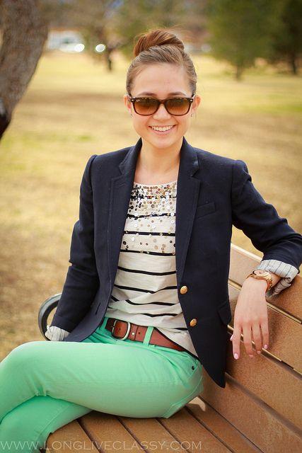 navy stripes, sparkles, blazer and mint jeans