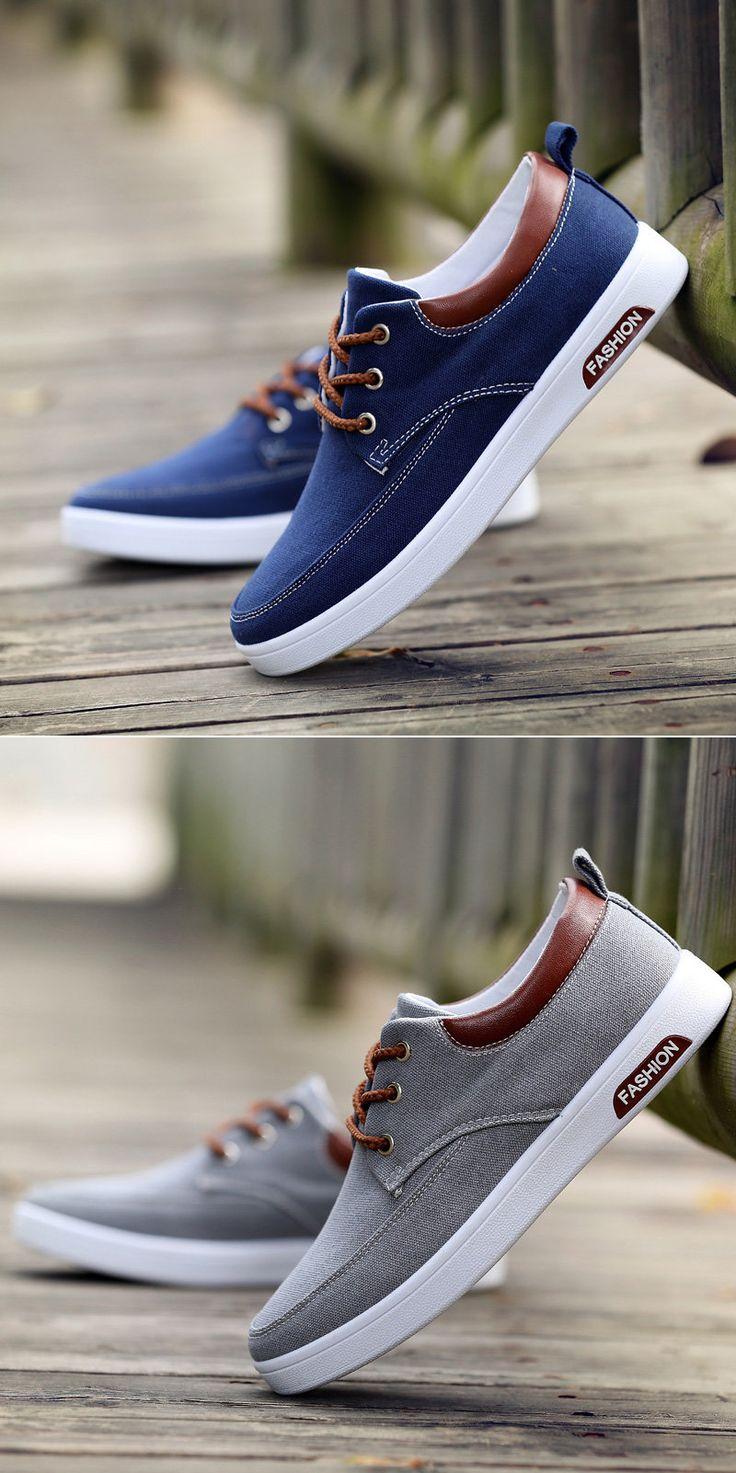 Men Canvas Pure Color Breathable Skateboarding Shoes Lace Up Trainers
