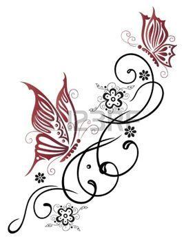 F�minin, en filigrane tribale avec des fleurs et des papillons photo
