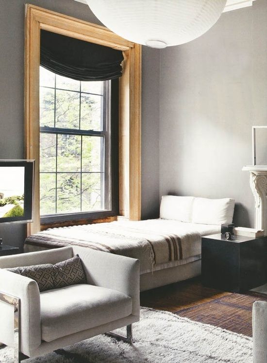 Grey Walls With Natural Wood Trim