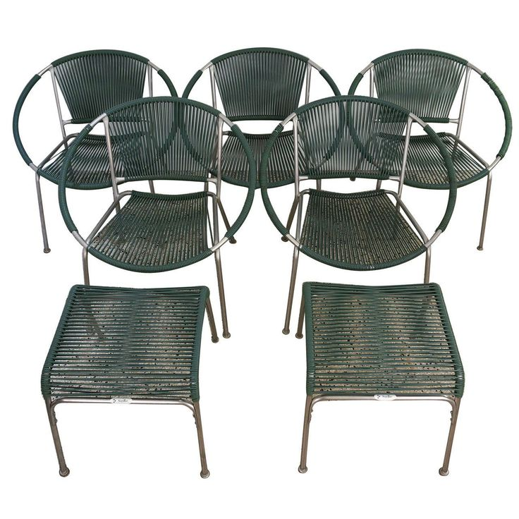 set of five mid century patio chairs with two ottoman surf line brown jordan - Garden Furniture Kings Lynn
