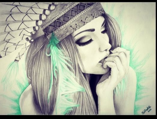 Girl in Indian headress drawing