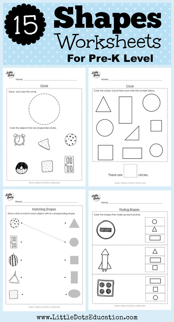 PreK Math Shapes Worksheets and Activities Shapes