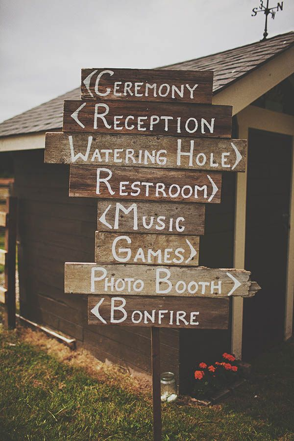 "Don't like how ""rustic"" this sign is, but could add some more modern touches (i.e. chalkboard) and use the same idea."