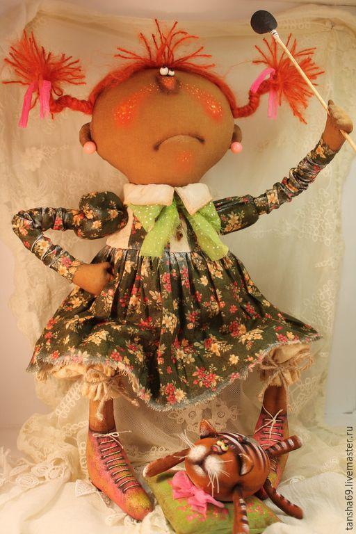 Купить Сытрашная история!!!... - разноцветный, текстильная кукла, ароматизированная кукла, интерьерная кукла, котик, ткань