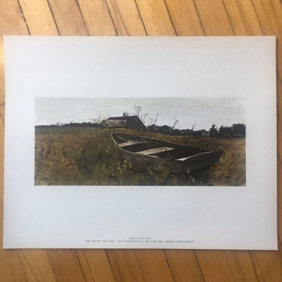 "Andrew Wyeth ""Teel's Island"" Lithograph from 1962 ""Four Seasons - 12 Reproductions"" Art Print Set"