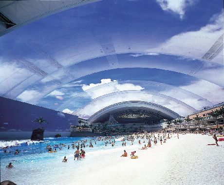 Ocean Dome, one of the largest indoor water parks in the world. Miyazaki, Kyushu Island, Japan.