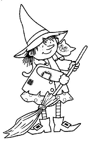 Halloween Witch Coloring Page, Lela