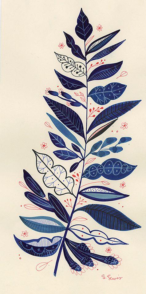 blue flowers by Kansas City illustrator Samantha Lewis