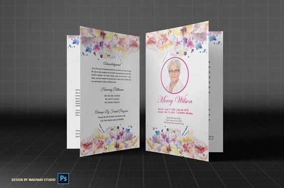 Funeral program Template | Obituary program | memorial program This template is perfect for a memorial program, funeral program, Obituary program & etc.This is very modern & unique design. You can very easily customize & understand because include the help video tutorial. INSTANT