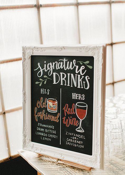 Wedding Signature Drinks bar menu sign with illustrations on chalkboard